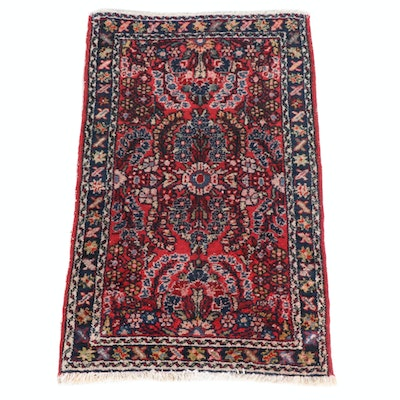 1'10 x 2'11 Hand-Knotted Persian Lilihan Rug, 1920s