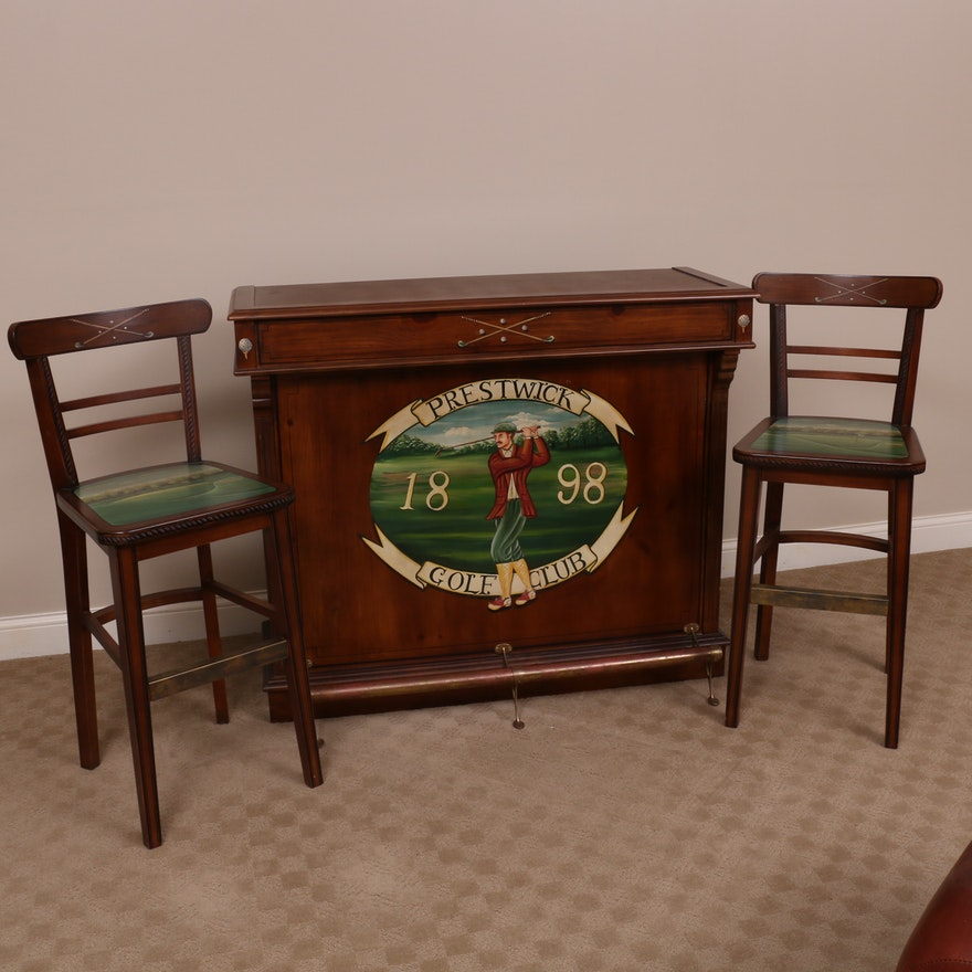 Prestwick Golf Club Paint-Decorated Wood Bar with Barstools, Late 20th Century