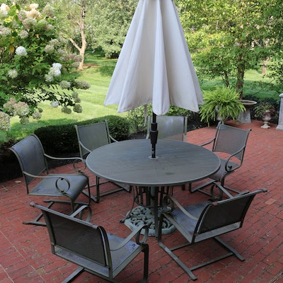 Summer Classics Mesh Metal Patio Table, Umbrella, Chairs and Side Table