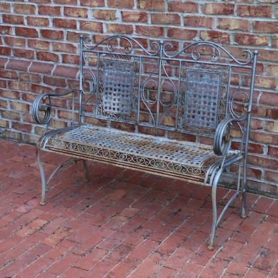 Outdoor Foldup Metal Bench, 20th Century