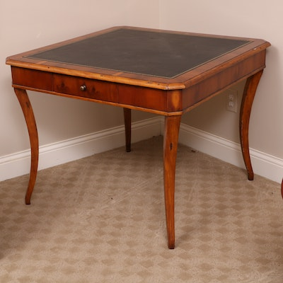 Regency Style Black Leather Table Top Card Table