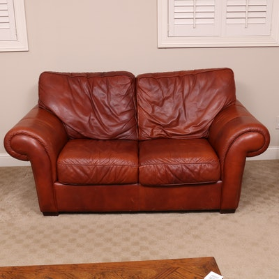 Cognac Leather Loveseat and Oversized Armchair with Ottoman