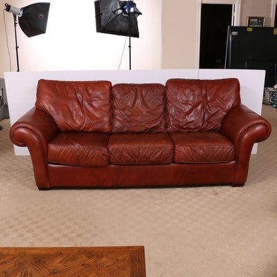 Cognac Leather Sofa, Late 20th Century
