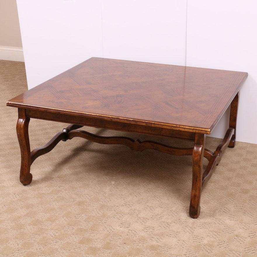 Henredon Louis XIV Style Oak Parquet Coffee Table, Mid to Late 20th Century