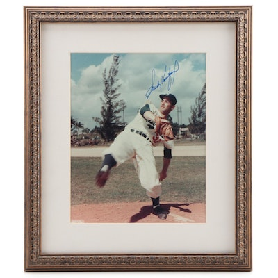 Sandy Koufax Pitching Legend Autographed Framed Photo Print, JSA COA Letter