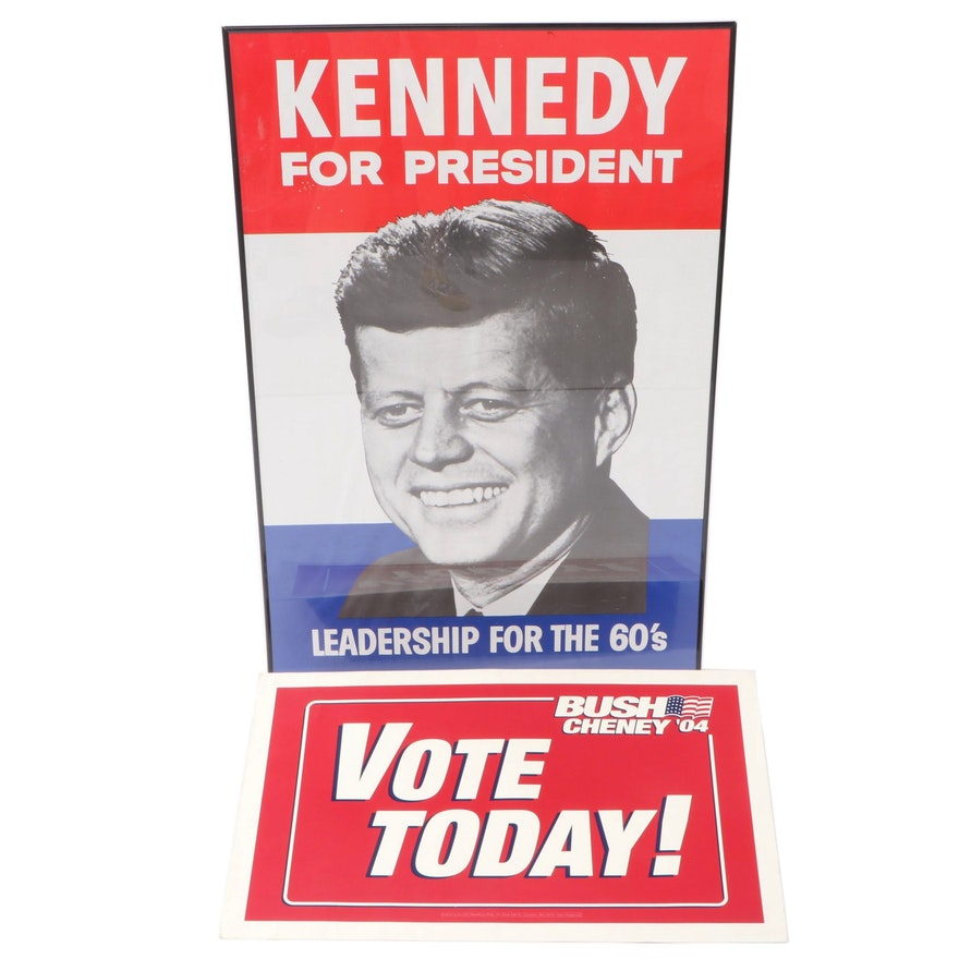 John F. Kennedy Political Poster and George W. Bush Campaign Signs