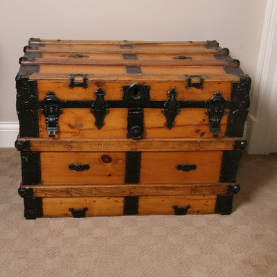 Metal-Clad Flat Top Steamer Trunk, Late 19th to Early 20th Century