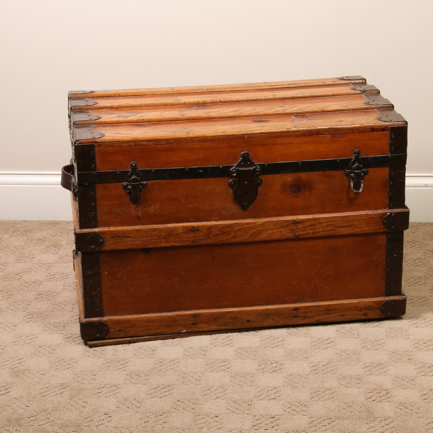 Victorian Style Wooden Steamer Trunk with Metal Hardware, Early 20th Century