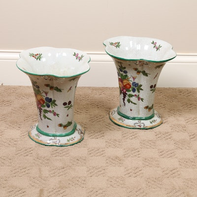 Pair of United Wilson Porcelain Fruit Vases, Contemporary