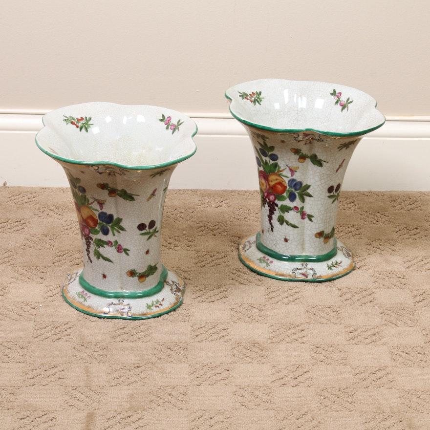Pair of United Wilson Porcelain Fruit Vases, Contemporary