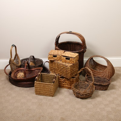 Decorative Wicker Baskets and Decorative Woven Spheres, Mid to Late 20th Century
