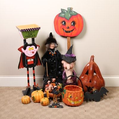 Ceramic Pumpkin, Wooden Bat and Other Halloween Decor
