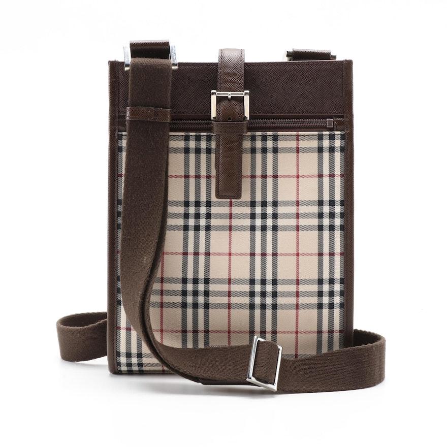 "Burberry ""House Check"" and Cross Grain Leather Crossbody Bag"