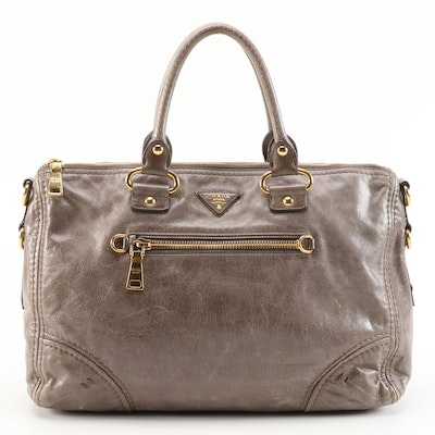 Prada Vitello Shine Taupe/Gray Leather Two-Way Satchel