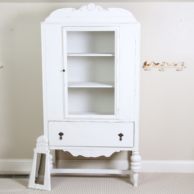 French Provincial Style White Washed Armoire and Accent Mirror, 20th Century