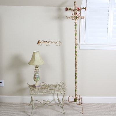 Metal Floral Coat Rack, Cast Iron Bird Rack, Table Lamp and Wire Bench