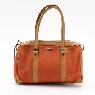 Gucci Boston Bag in Orange Suede with Contrasting Leather Trim in Camel