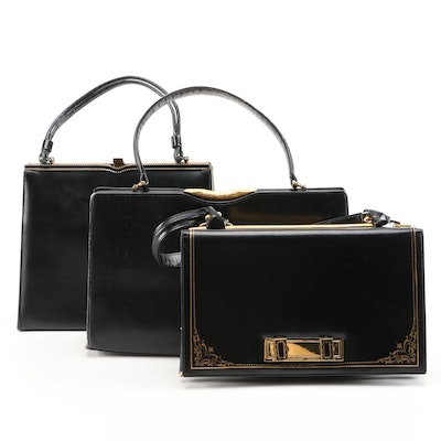 Rendl for I. Magnin, Florence Leather School and Other Black Leather Handbags