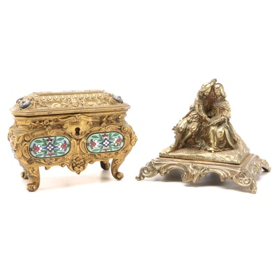Gilt Bronze Champleve Enamel Gilt Metal Jewelry Casket with Cast Brass Figurine