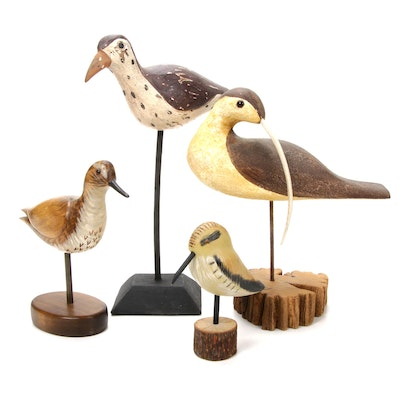 "Carved Wooden Waterbirds, Featuring Richard Morgans ""Long-Billed Curlew"""