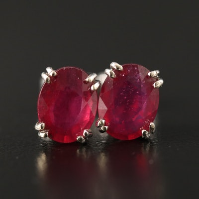 14K Corundum Stud Earrings with Openwork Gallery