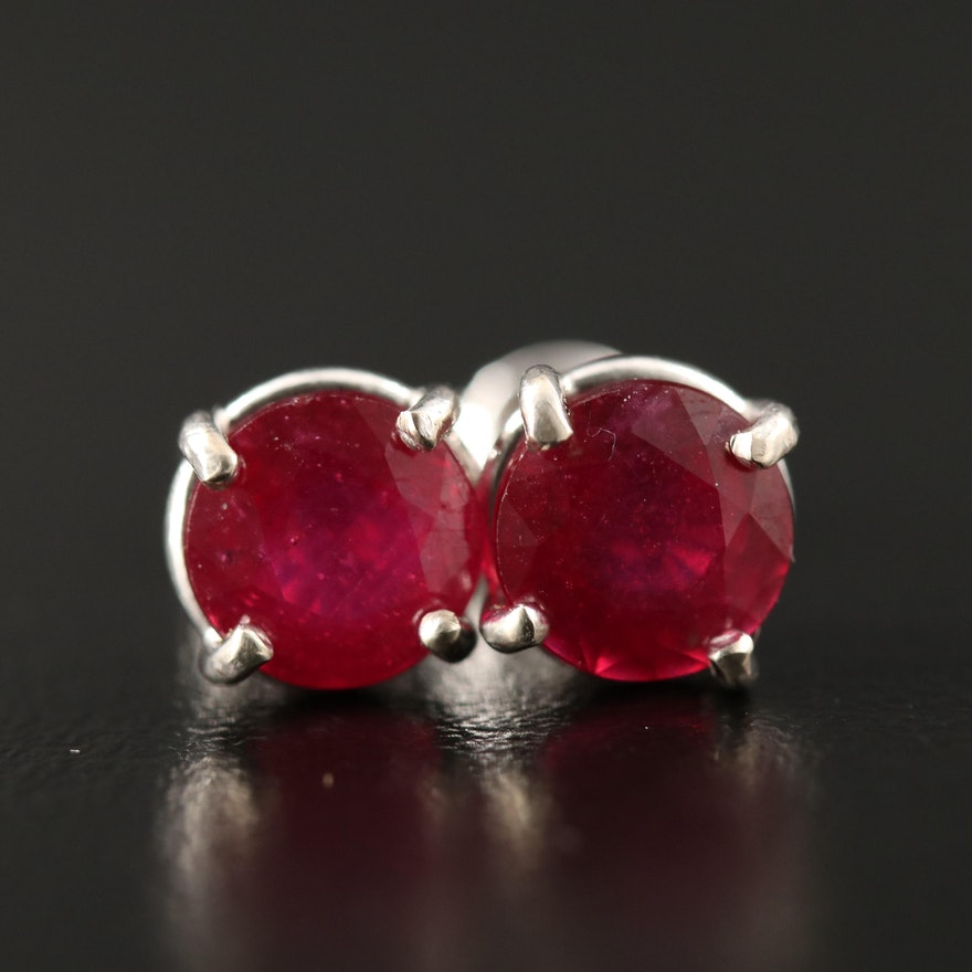 14K Corundum Stud Earrings