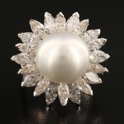 Platinum Pearl and 4.80 CTW Diamond Ring Featuring Floral Design