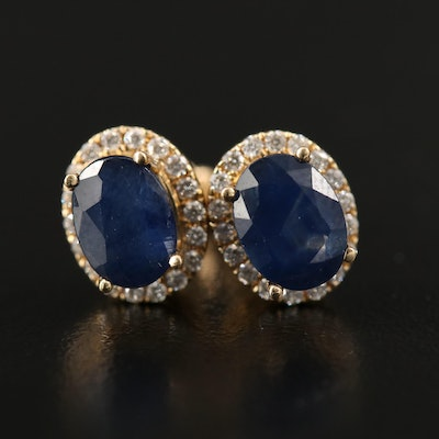 14K 3.28 CTW Sapphire and Diamond Halo Stud Earrings with Openwork Gallery