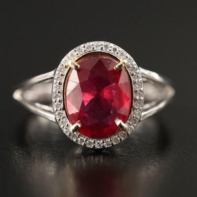 14K Corundum and Diamond Halo Split Shank Ring