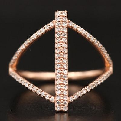 14K Rose Gold Diamond Minimalist Ring