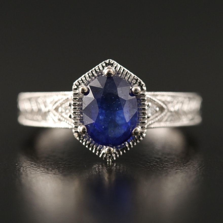 14K Oval Faceted Corundum and Diamond Ring