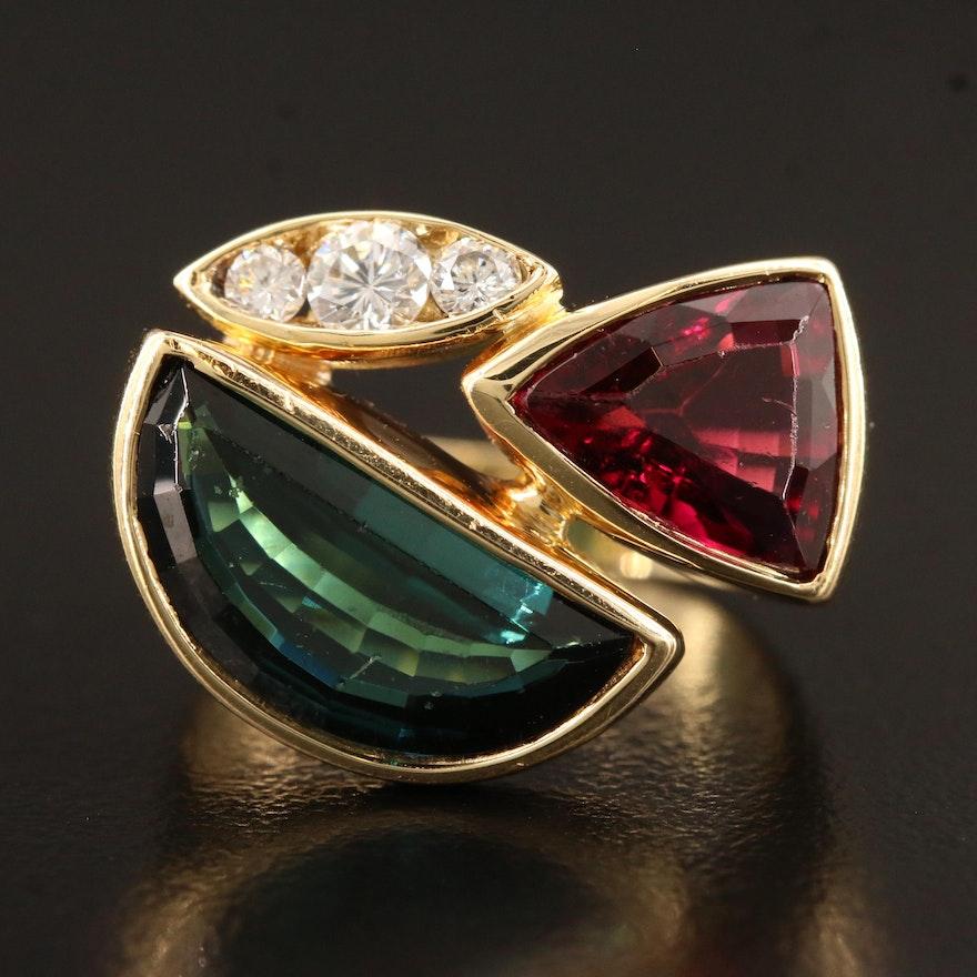 18K Tourmaline, Rubellite Tourmaline and Diamond Asymmetrical Ring