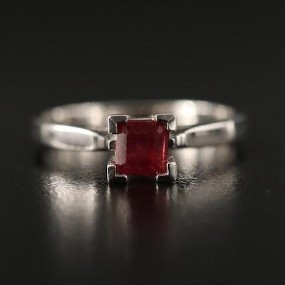 14K Square Faceted Corundum Solitaire Ring