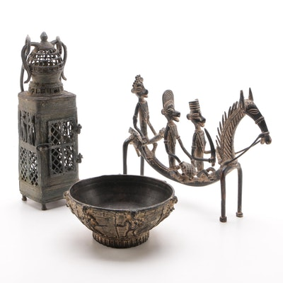 West African Ornate Bowl, Horse Figurine with Riders, and Metal Lantern