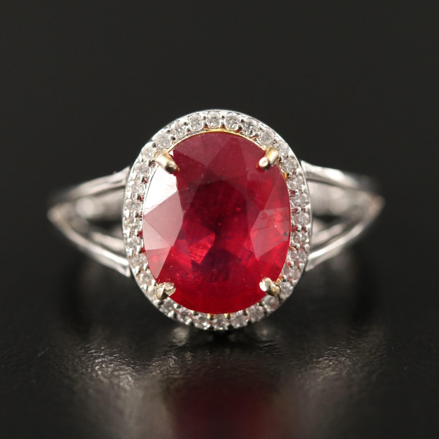14K Corundum Split Shank Ring with Diamond Halo