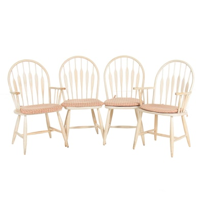 American Colonial White Washed Dining Tables, Set of Four