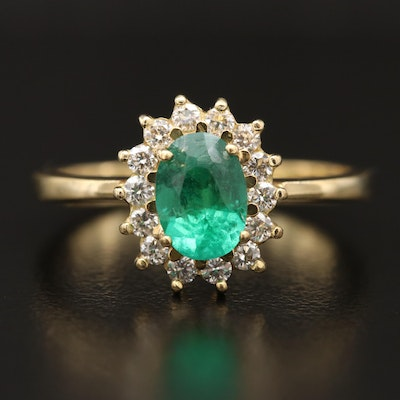 18K Emerald and Diamond Halo Ring