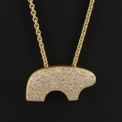 "The Golden Bear ""Mama Bear"" 18K 1.05 CTW Diamond Necklace"