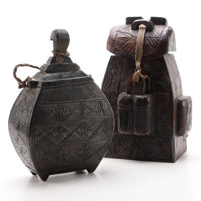 Folk Art Carved Wood Boxes Resembling a Backpack and Vase