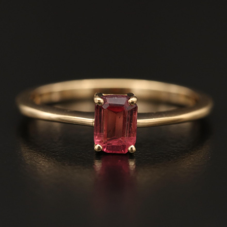 18K Tourmaline Solitaire Ring