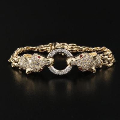 14K 1.98 CTW Diamond and Ruby Double Panther Head Bracelet