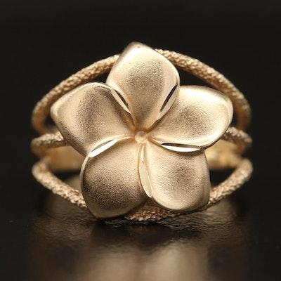 14K Plumeria Ring with Textured Split Shank
