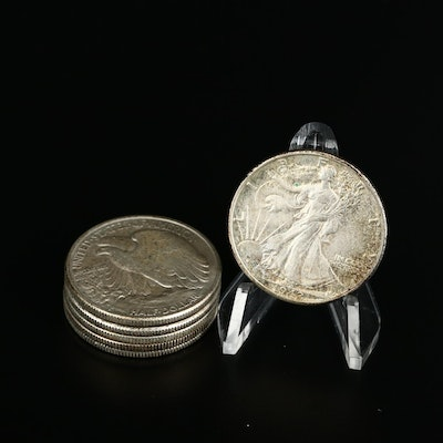Six Walking Liberty Silver Half Dollars, 1940s