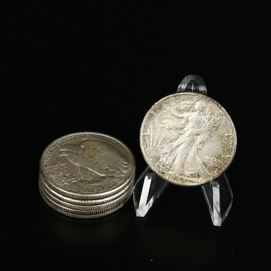 Six Walking Liberty Silver Half Dollars, 1940s