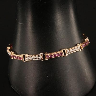 14K Ruby and Diamond Bar Link Bracelet