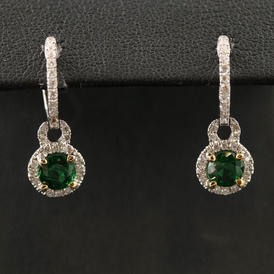 14K Tsavorite and Diamond Drop Earrings