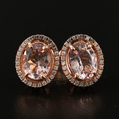 14K Rose Gold Oval Faceted Morganite and Diamond Halo Button Earrings