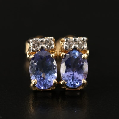 14K Oval Faceted Tanzanite and Diamond Stud Earrings