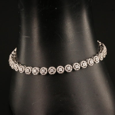 10K Round Link 1.18 CTW Diamond Line Bracelet