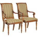 Ethan Allen Directoire Style Striped Upholstered Armchairs, Late 20th Century